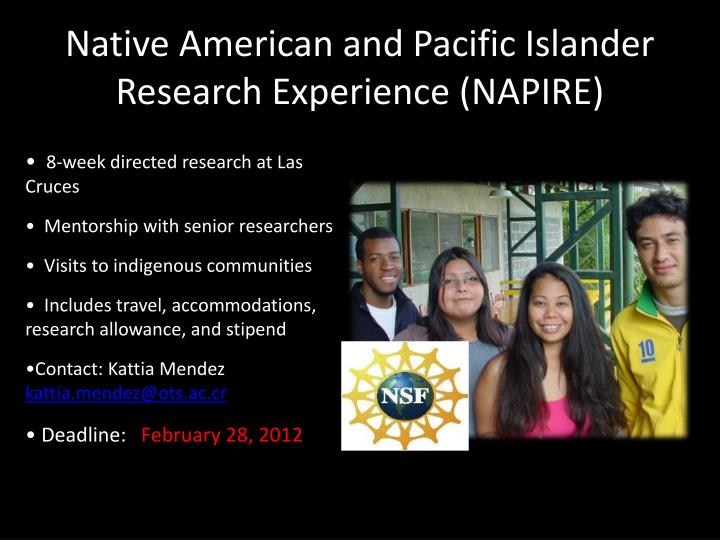 Native American and Pacific Islander Research Experience (NAPIRE)