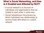 what is social networking and how is it enabled and affected by is it