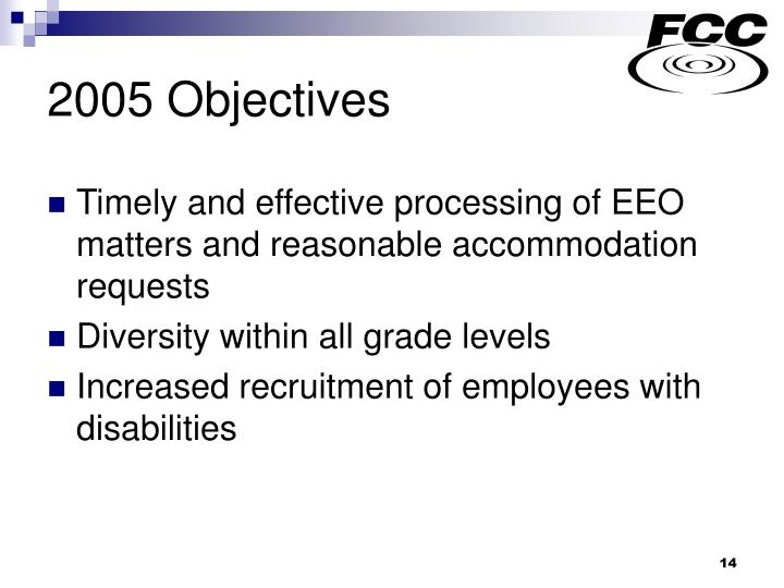 2005 Objectives