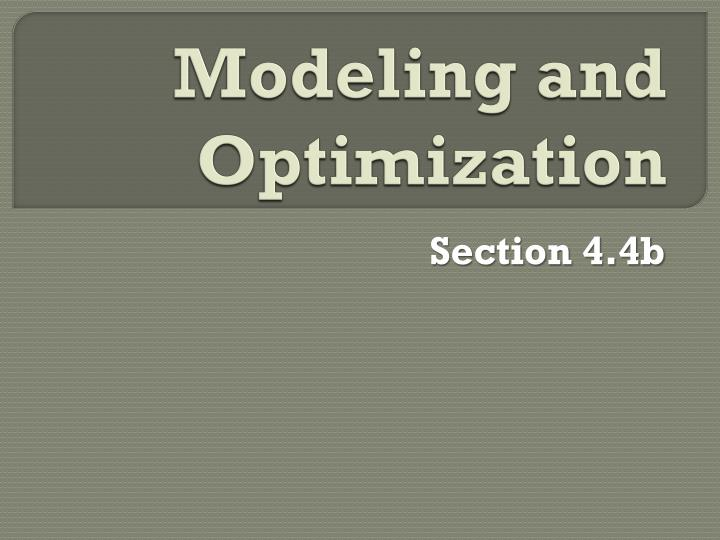 modeling and optimization n.