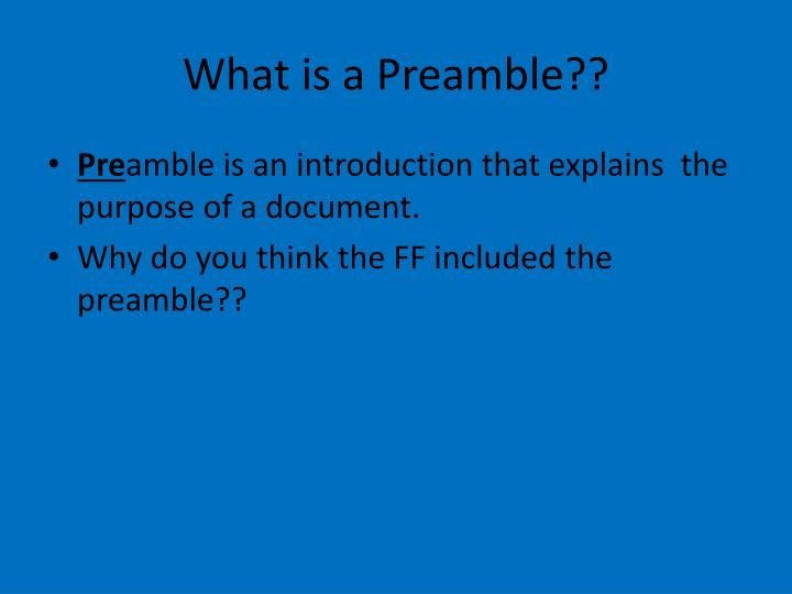 what is a preamble n.