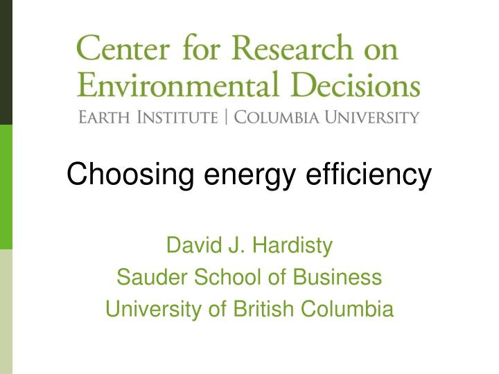 choosing energy efficiency n.