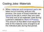 costing jobs materials