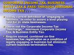 corporate income tax business entity tax pass through personal income tax