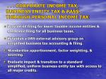 corporate income tax business entity tax pass through personal income tax1
