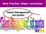 best practice major conclusion