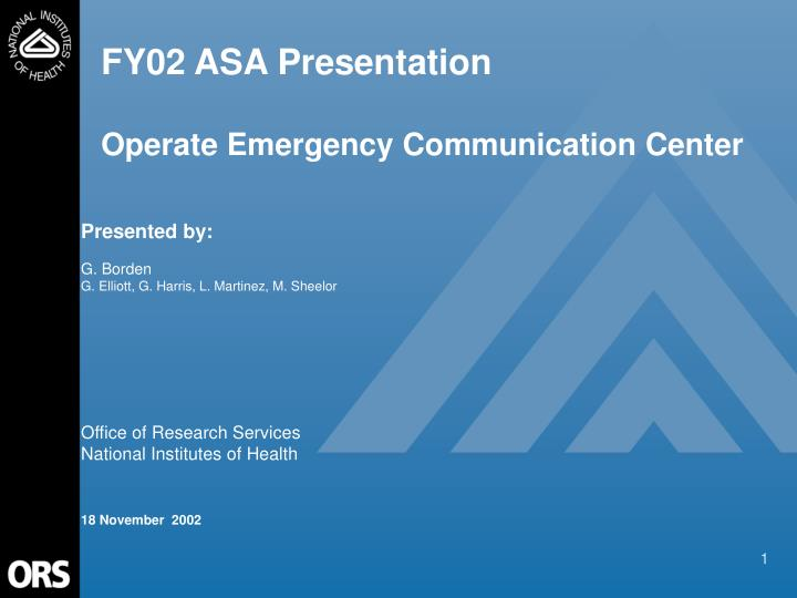 fy02 asa presentation operate emergency communication center n.