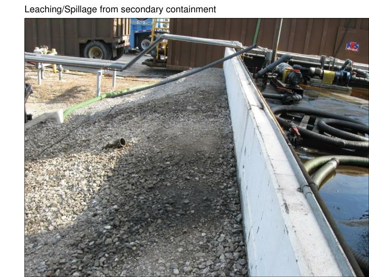 Leaching/Spillage from secondary containment
