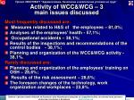 activity of wcc wcg 3 main issues discussed