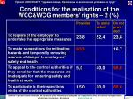 conditions for the realisation of the wcc wcg members rights 2