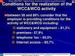 conditions for the realization of the wcc wcg activity