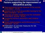 factors supporting the improvement of wcc wcg activity