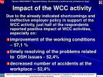 impact of the wcc activity