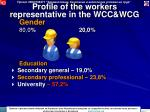 profile of the workers representative in the wcc wcg