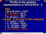 profile of the workers representative in wcc wcg 2