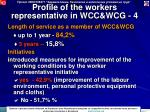 profile of the workers representative in wcc wcg 4
