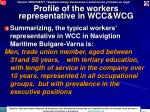 profile of the workers representative in wcc wcg