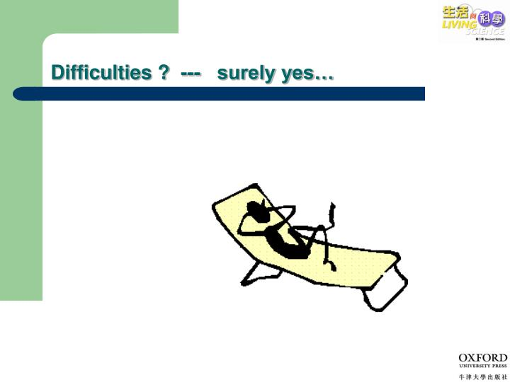 Difficulties ?  ---   surely yes…
