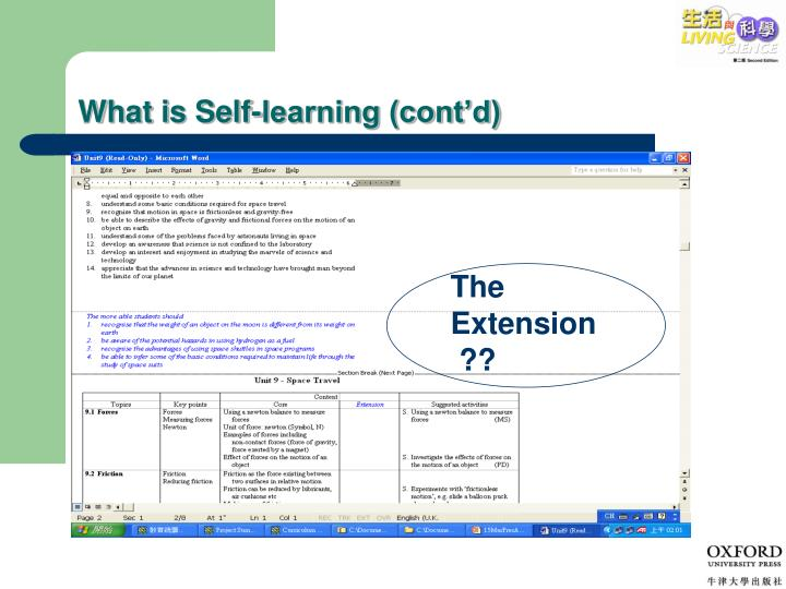 What is Self-learning (cont'd)