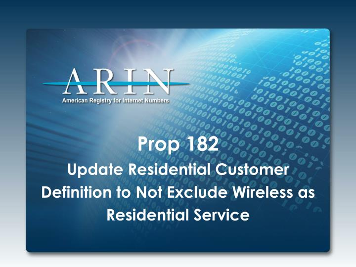 prop 182 update residential customer definition to not exclude wireless as residential service n.