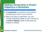 adding a screenshot or screen clipping to a worksheet