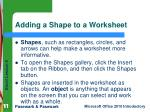 adding a shape to a worksheet