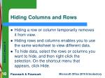 hiding columns and rows