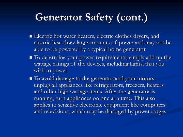 Generator Safety (cont.)