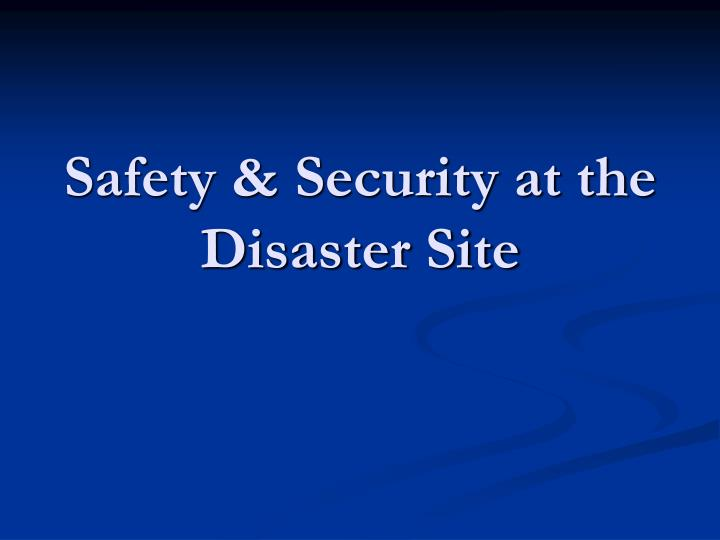 Safety & Security at the Disaster Site