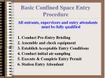 basic confined space entry procedure