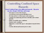 controlling confined space hazards