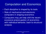 computation and economics