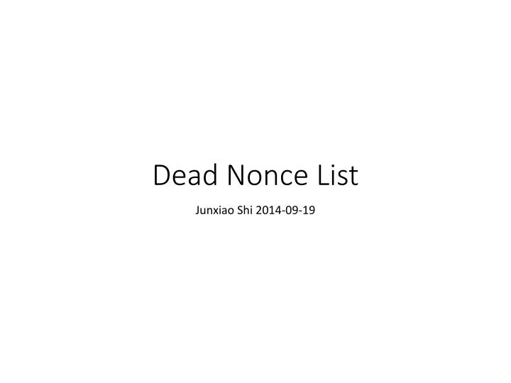 dead nonce list n.