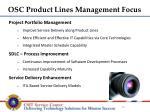 osc product lines management focus