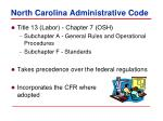 north carolina administrative code