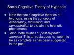 socio cognitive theory of hypnosis