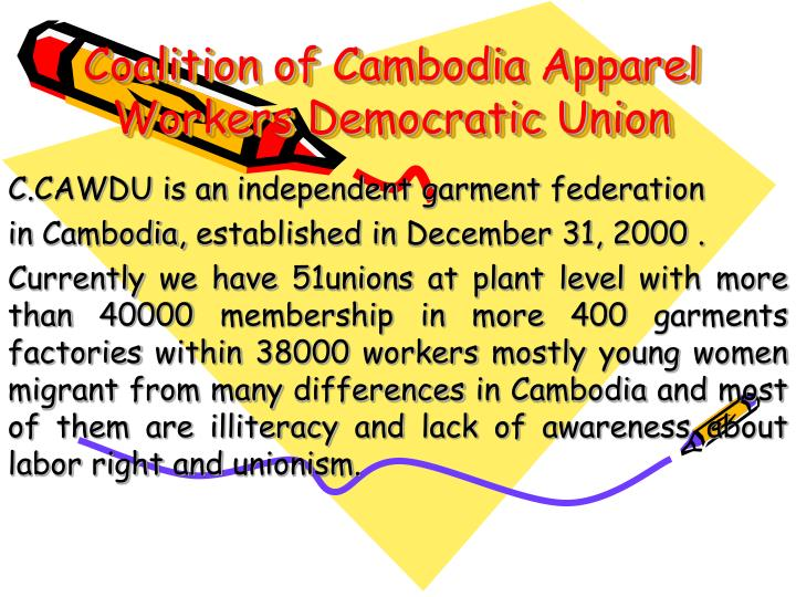 coalition of cambodia apparel workers democratic union n.