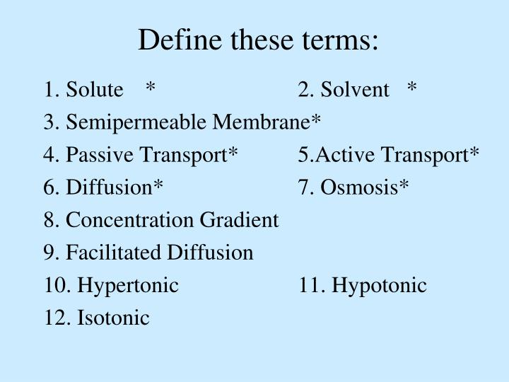 Define these terms