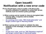 open issue 2 notification with a new error code