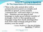 value of training in speaking or the importance of communication