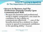 value of training in speaking or the importance of communication1