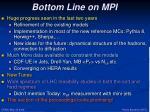 bottom line on mpi