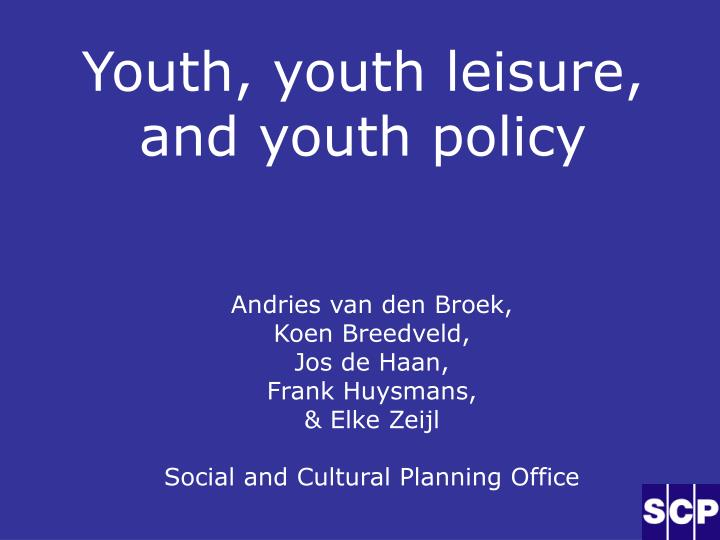 youth youth leisure and youth policy n.