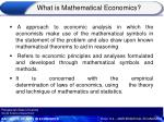 what is mathematical economics