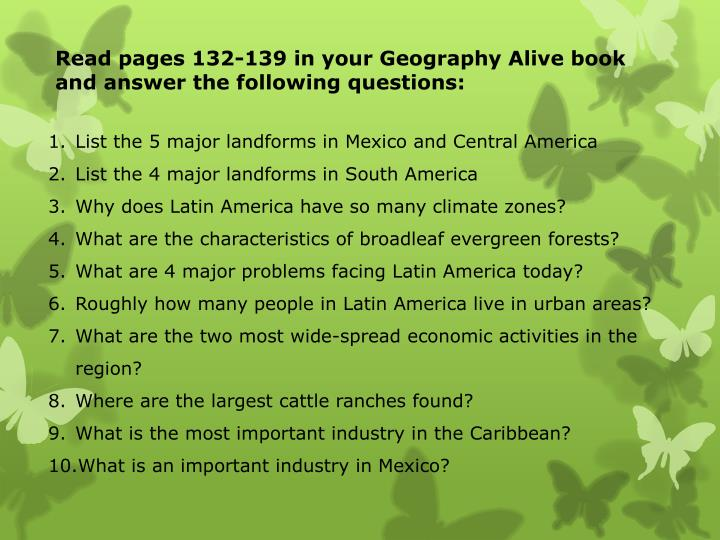 read pages 132 139 in your geography alive book and answer the following questions n.
