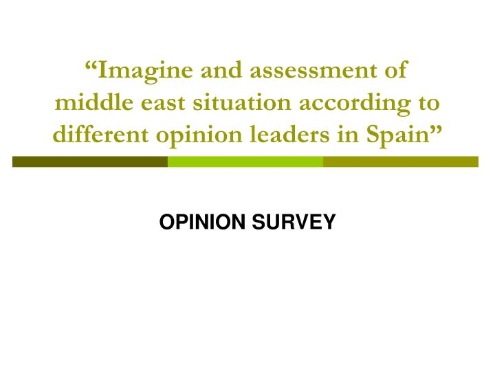 imagine and assessment of middle east situation according to different opinion leaders in spain n.