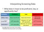interpreting screening data