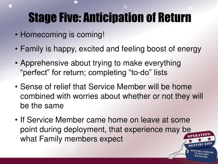 Stage Five: Anticipation of Return