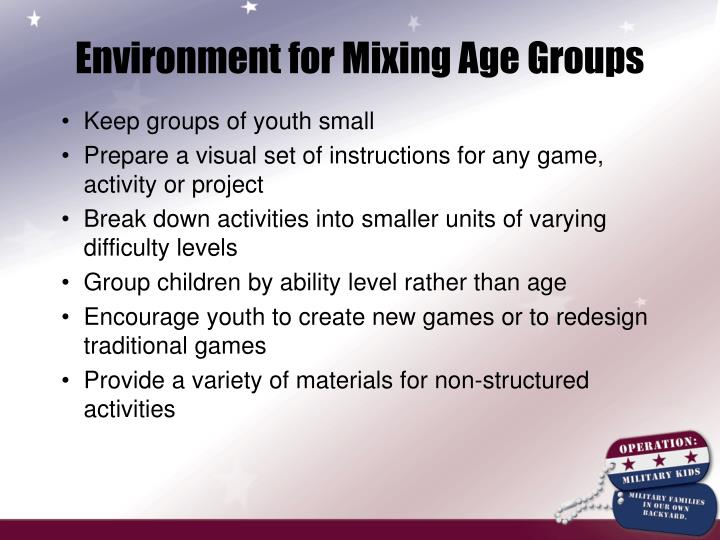 Environment for Mixing Age Groups