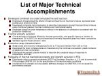 list of major technical accomplishments
